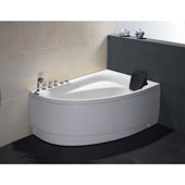 60'' Acrylic Lighted 7 Jet Whirlpool Bath Tub in White and Left Configuration, 59'' W x 39-2/5'' D x 25-13/20'' H