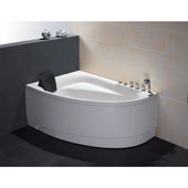 60'' Acrylic Lighted 7 Jet Whirlpool Bath Tub in White and Right Configuration, 59'' W x 39-2/5'' D x 25-13/20'' H