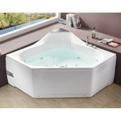 5 Feet Rounded Corner Acrylic Whirlpool Bathtub For Two in White, 59'' W x 59'' D x 31-1/2'' H