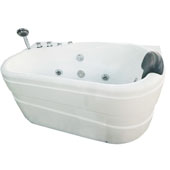 60''' Acrylic Lighted 9 Jet Whirlpool Bathtub in White and Left Configuration, 57-3/20'' W x 29-9/10'' D x 27-1/2'' H