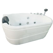60'' Acrylic Lighted 9 Jet Whirlpool Bathtub in White and Right Configuration, 57-3/20'' W x 29-9/10'' D x 27-1/2'' H