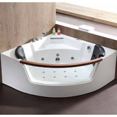 60'' Corner Clear Triangular Rounded Acrylic Whirlpool Lighted Bathtub with Lighting, Stereo, Bluetooth, and Fixtures, 59'' W x 59'' D x 25-13/20'' H