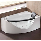 60'' Corner Clear Rounded Acrylic Whirlpool Lighted Bathtub with Stereo and Bluetooth in Left Configuration, 59'' W x 39-2/5'' D x 23-13/20'' H