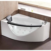60'' Corner Clear Rounded Acrylic Whirlpool Lighted Bathtub with Stereo and Bluetooth in Right Configuration, 59'' W x 39-2/5'' D x 23-13/20'' H