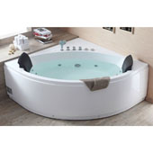 60'' Rounded Two Seat Corner Whirlpool Bathtub with Fixtures, 59-3/20'' W x 59-3/20'' D x 24-2/5'' H