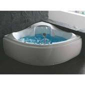 60'' Corner Acrylic Waterfall Whirlpool Lighted Bathtub with Fixtures in White, 59'' W x 59'' D x 28-1/3'' H