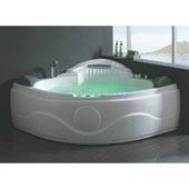 60'' Corner Acrylic White Waterfall Whirlpool Lighted Bathtub with Bluetooth and Stereo, 60-13/20'' W x 60-13/20'' D x 21-13/20'' H