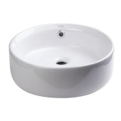 16'' Round Ceramic Above Mount Bathroom Basin Vessel Sink in White, 15-3/4'' Diameter x 6-1/8'' H