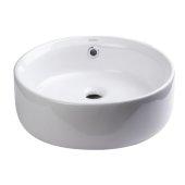 16'' Round Ceramic Above Mount Bathroom Basin Vessel Sink in White, 15-3/4'' Diameter x 6-1/8'' H