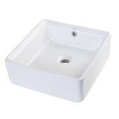 15'' Square Ceramic Above Mount Bathroom Basin Vessel Sink in White, 15'' W x 15'' D x 6-1/8'' H