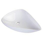 Tear Drop Ceramic Above Mount Bath Vessel Sink in White, 26-3/4'' W x 17-3/4'' D x 6-1/2'' H