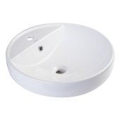 18'' Round Ceramic Above Mount Bathroom Basin Vessel Sink in White, 18-1/2'' Diameter x 6-1/4'' H