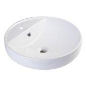 18'' Round Ceramic Above Mount Bathroom Basin Vessel Sink in White, 18-1/2'' Diameter x 6-1/4'' H