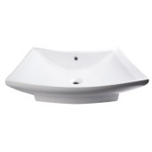 28'' Rectangular Porcelain Bathroom Vessel Sink with Single Hole in White, 28-3/8'' W x 19-5/8'' D x 6-1/4'' H