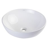 18'' Round Ceramic Above Mount Bathroom Basin Vessel Sink in White, 17-7/8'' Diameter x 6-1/2'' H