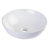 18'' Round Ceramic Above Mount Bathroom Basin Vessel Sink in White, 17-7/8'' Diameter x 6-1/2'' H
