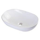 23'' Oval Ceramic Above Mount Bathroom Basin Vessel Sink in White, 22-7/8'' W x 14-3/4'' D x 6-3/8'' H