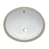Ceramic 18'' x 15'' Undermount Oval Bathroom Sink in White, 17-3/4'' W x 15'' D x 7-1/4'' H
