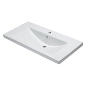 Ceramic 40'' x 19'' Rectangular Drop In Sink in White, 39-3/8'' W x 18-7/8'' D x 7-7/8'' H