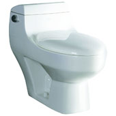 Single Flush One Piece High Efficiency Ceramic Toilet in White, 16'' W x 28-1/2'' D x 25'' H