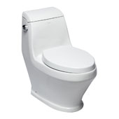 Single Flush One Piece Elongated Ceramic Toilet in White, 16-3/20'' W x 29'' D x 28-1/3'' H