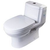 Dual Flush One Piece High Efficiency Ceramic Toilet in White, 15-3/4'' W x 26-1/2'' D x 25'' H