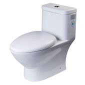 Dual Flush High Efficiency Elongated Ceramic Toilet in White, 15-3/20'' W x 28'' D x 28'' H