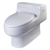 Single Flush One Piece Elongated Ceramic Toilet in White, 19-13/20'' W x 29-9/10'' D x 22-1/4'' H