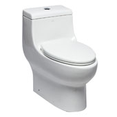 Dual Flush High Efficiency Elongated Ceramic Toilet in White, 15-3/4'' W x 27-1/2'' D x 27'' H