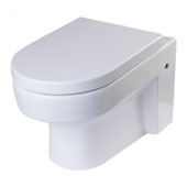 Wall Mount Modern Round Dual Flush Toilet Bowl in White, 14-3/20'' W x 22'' D x 13'' H