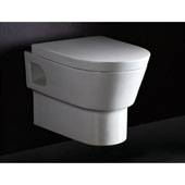 Wall Mount Modern Round Dual Flush Toilet Bowl in White, 15'' W x 21-9/10'' D x 15-3/4'' H