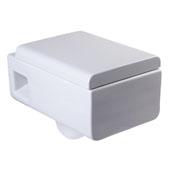 Wall Mount Modern Square Dual Flush Toilet Bowl in White, 14'' W x 21'' D x 15-3/4'' H