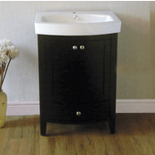 Empire Arch 24'' Semi-Round Black Vanity with Two Doors And One Drawer, 22-3/5''W x 17.2''D x 32''H