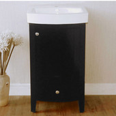 Empire Arch 21'' Semi-Round Black Vanity with Two Doors And One Drawer, 18-1/3''W x 15-3/5''D x 32''H
