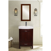 Empire Arch Vanity Base with Cabinet and Two Drawers, Dark Cherry, 26-1/2''W x 17-1/2''D x 31-7/8''H