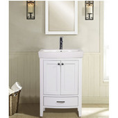 Empire Arch Vanity Base with Cabinet and Two Drawers, White, 26-1/2''W x 17-1/2''D x 31-7/8''H