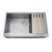 36'' W Single Bowl Apron Front Farmhouse Kitchen Sink, Stainless Steel, , 35-3/4'' W x 21-1/2'' D x 9-5/6'' H