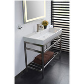 Empire South Beach Console in Satin Stainless Steel for 30'' Milano Sink, 28-7/8'' W x 19-1/8'' D x 31'' H
