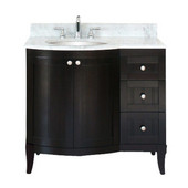 Empire 36'' Malibu 100 Collection Bathroom Vanity, Bowl On Left, Dark Mahogany
