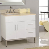 Metropolitan 30'' Vanity for Kira Ceramic Sinks in White Matte with Satin Frame & Hardware, 2 Doors & 2 Right Drawers