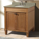 Cambridge Collection 30'' Vanity with Quartz Nova Café Latte Countertop and Biscuit or White Undermount Sink Bowl Installed, 30'' W x 21-1/2'' D x 33-5/16'' H