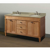 Cambridge Collection 60'' Vanity with Quartz Nova Caf� Latte Countertop and (2) Biscuit or White Undermount Sink Bowls Installed, 60'' W x 21-1/2'' D x 33-5/16'' H