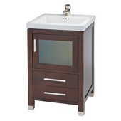 Empire 21'' Chelsea One Door With Frosted Glass and Two Bottom Drawers Vanity For Tribeca Sink, Dark Cherry