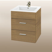 Wall-Hung Daytona 21'' Vanity for Laguna Ceramic Sinks in Golden Wheat with Polished Hardware, 2 Drawers (Wall Mounting Hardware included)