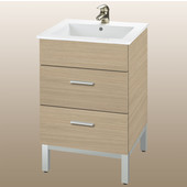 Daytona 21'' Two Drawers Vanity for Laguna Ceramic Sink in Pickled Oak with Polished Frame & Hardware