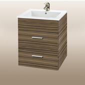 Wall-Hung Daytona 21'' Vanity for Laguna Ceramic Sinks in Timber Gloss with Polished Hardware, 2 Drawers (Wall Mounting Hardware included)