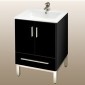Daytona 21'' Two Doors And One Drawer Vanity for Laguna Ceramic Sink in Black Gloss with Polished Frame & Hardware
