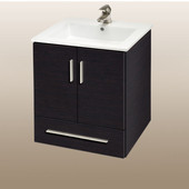 Wall-Hung Daytona 21'' Vanity for Laguna Ceramic Sinks in Blackwood with Polished Frame & Hardware, 2 Doors & 1 Drawer (Wall Mounting Hardware included)