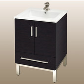 Daytona 21'' Vanity for Laguna Ceramic Sinks in Blackwood with Polished Frame & Hardware, 2 Doors & 1 Drawer