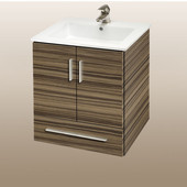Wall-Hung Daytona 21'' Vanity for Laguna Ceramic Sinks in Timber Gloss with Polished Frame & Hardware, 2 Doors & 1 Drawer (Wall Mounting Hardware included)